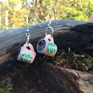 Pink Starbucks coffee cups earrings silver 925